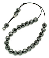 Greek komboloi (worry beads) of hematite with silver appointments
