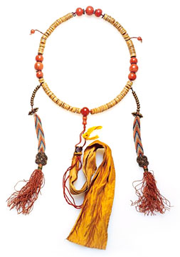 Buddhist mala made from the bones of a lama (holy man)