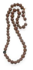 Hindu mala of 54 rudraksha beads and one bodhi seed