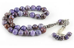 Muslim prayer beads (masbaha) of charoite with silver marker beads and tassel