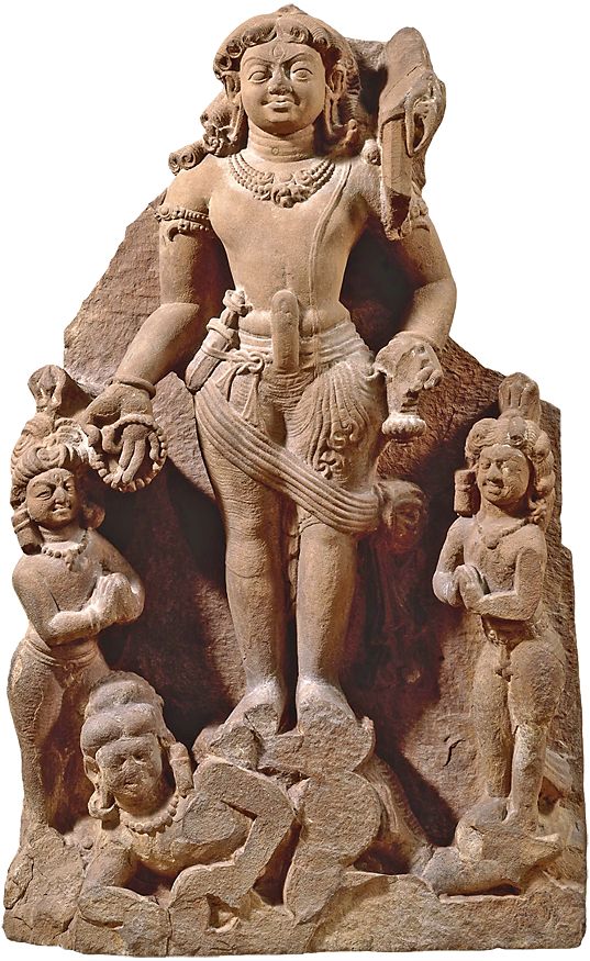 Sandstone sculpture of Lakulisha, an aspect of the Hindu god Shiva